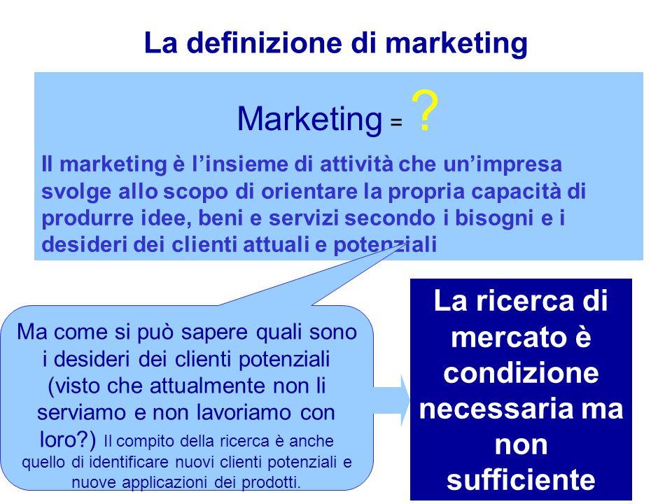La definizione di marketing Marketing = .