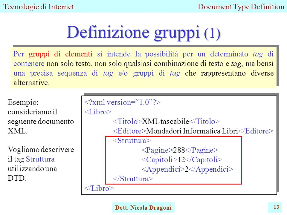 Tecnologie di InternetDocument Type Definition Dott.
