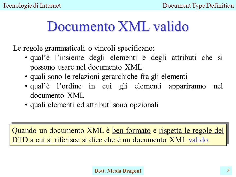 Tecnologie di InternetDocument Type Definition Dott.