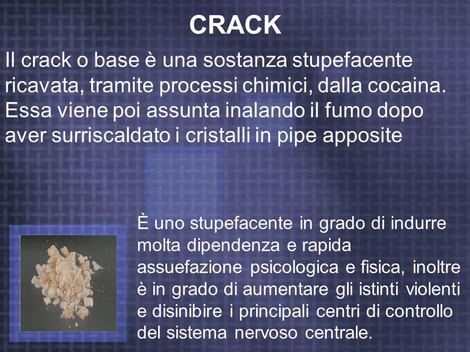CRACK Il crack o base è una sostanza stupefacente ricavata, tramite processi chimici, dalla cocaina. Essa viene poi assunta inalando il fumo dopo aver