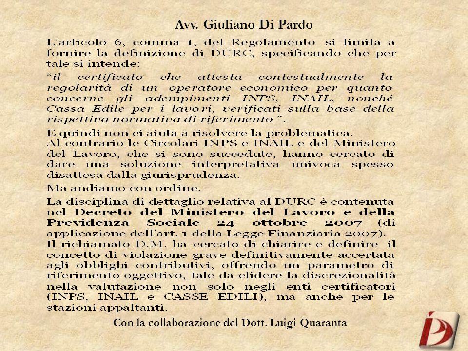 Avv. Giuliano Di Pardo Con la collaborazione del Dott. Luigi Quaranta
