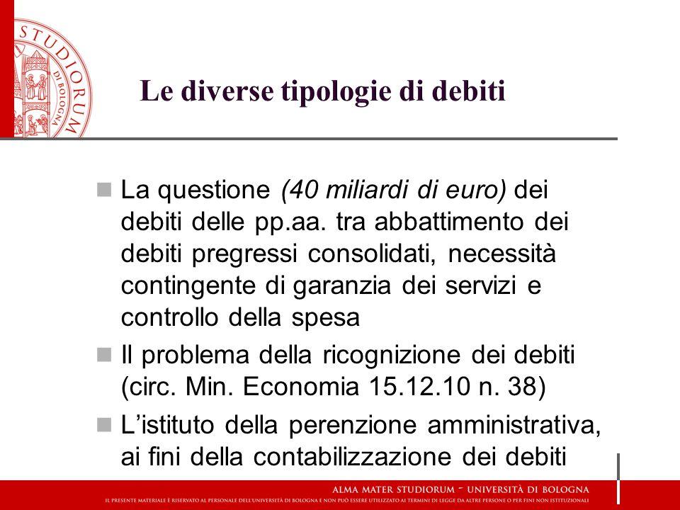 La questione (40 miliardi di euro) dei debiti delle pp.aa.