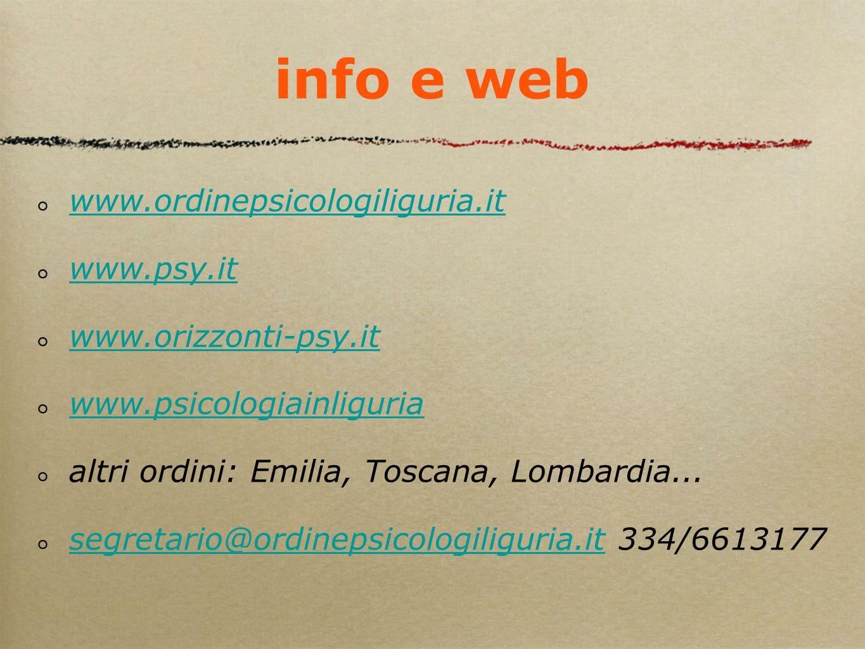 info e web www.ordinepsicologiliguria.it www.psy.it www.orizzonti-psy.it www.psicologiainliguria altri ordini: Emilia, Toscana, Lombardia... segretari