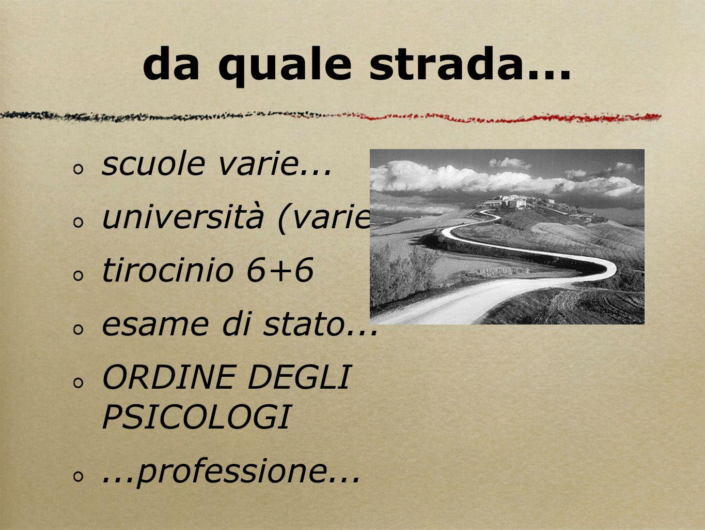scuole varie... università (varie?)... tirocinio 6+6 esame di stato... ORDINE DEGLI PSICOLOGI...professione... da quale strada...
