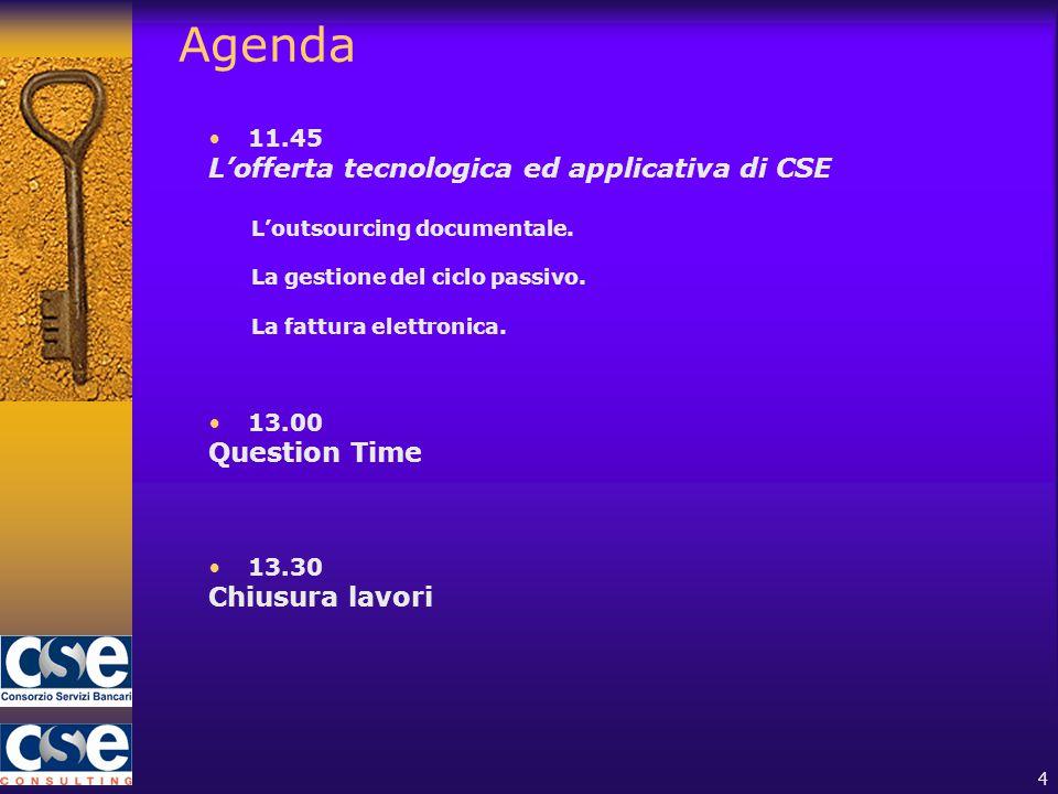 4 Agenda 11.45 L'offerta tecnologica ed applicativa di CSE L'outsourcing documentale.