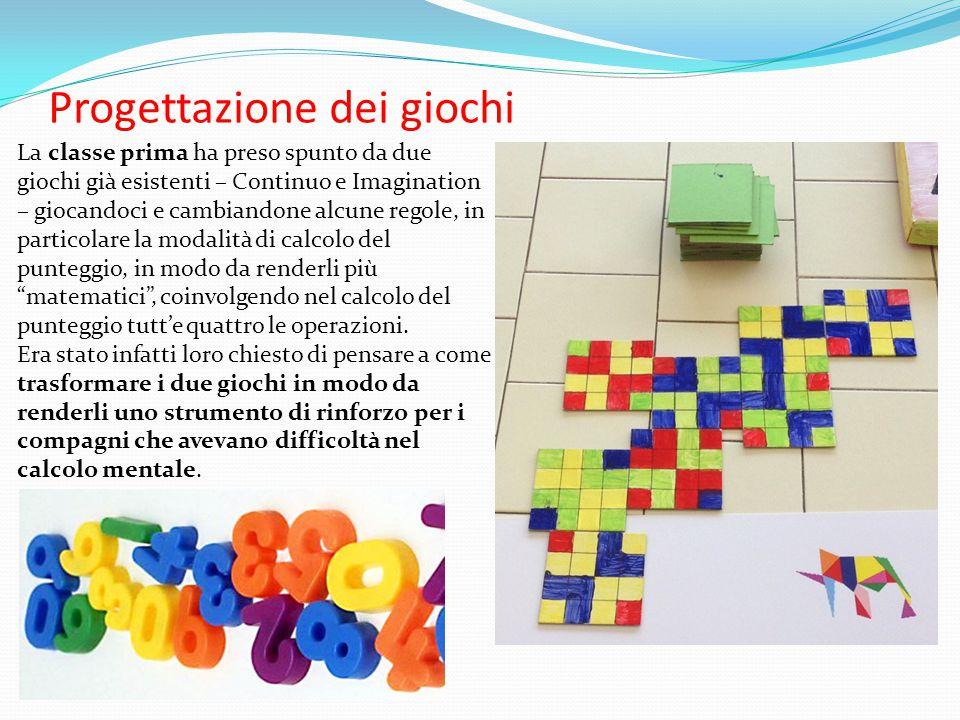 Progettazione dei giochi La classe prima ha preso spunto da due giochi già esistenti – Continuo e Imagination – giocandoci e cambiandone alcune regole