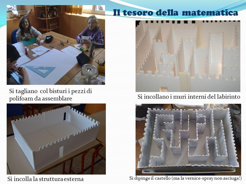 Il tesoro della matematica Si tagliano col bisturi i pezzi di polifoam da assemblare Si incolla la struttura esterna Si incollano i muri interni del l