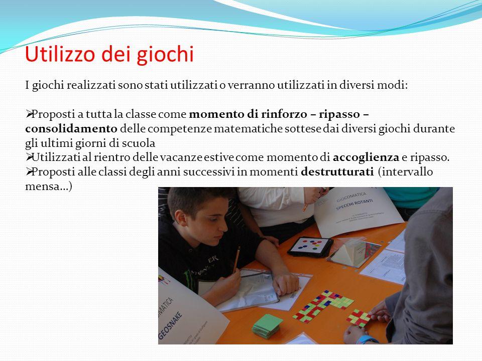 Utilizzo dei giochi I giochi realizzati sono stati utilizzati o verranno utilizzati in diversi modi:  Proposti a tutta la classe come momento di rinf