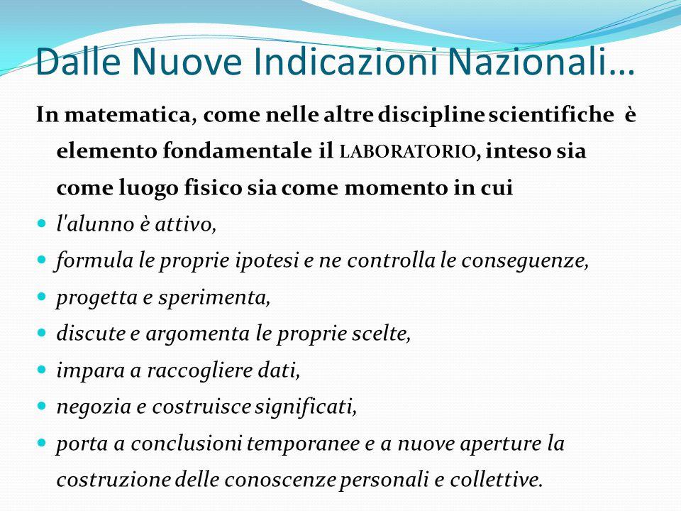 Dalle Nuove Indicazioni Nazionali… In matematica, come nelle altre discipline scientifiche è elemento fondamentale il LABORATORIO, inteso sia come luo