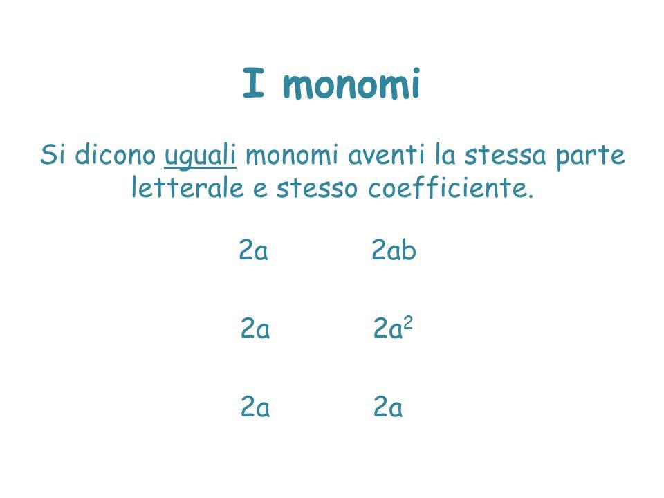I monomi Si dicono uguali monomi aventi la stessa parte letterale e stesso coefficiente. 2a2a 2 2a2ab 2a