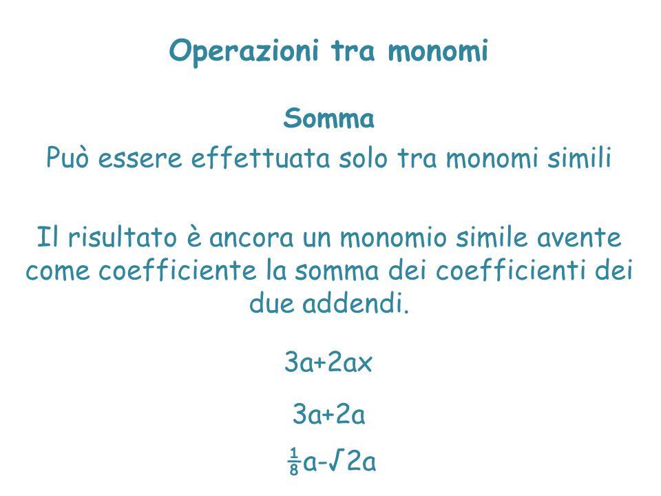 Operazioni tra monomi Somma Può essere effettuata solo tra monomi simili Il risultato è ancora un monomio simile avente come coefficiente la somma dei