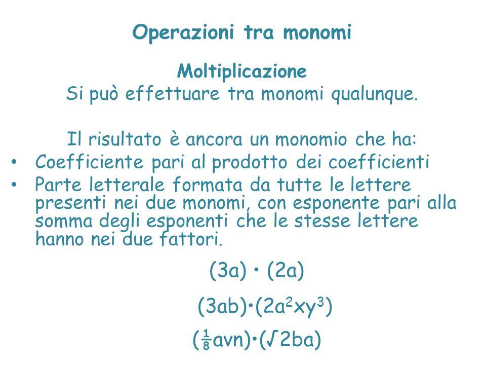 Operazioni tra monomi Moltiplicazione Si può effettuare tra monomi qualunque. Il risultato è ancora un monomio che ha: Coefficiente pari al prodotto d
