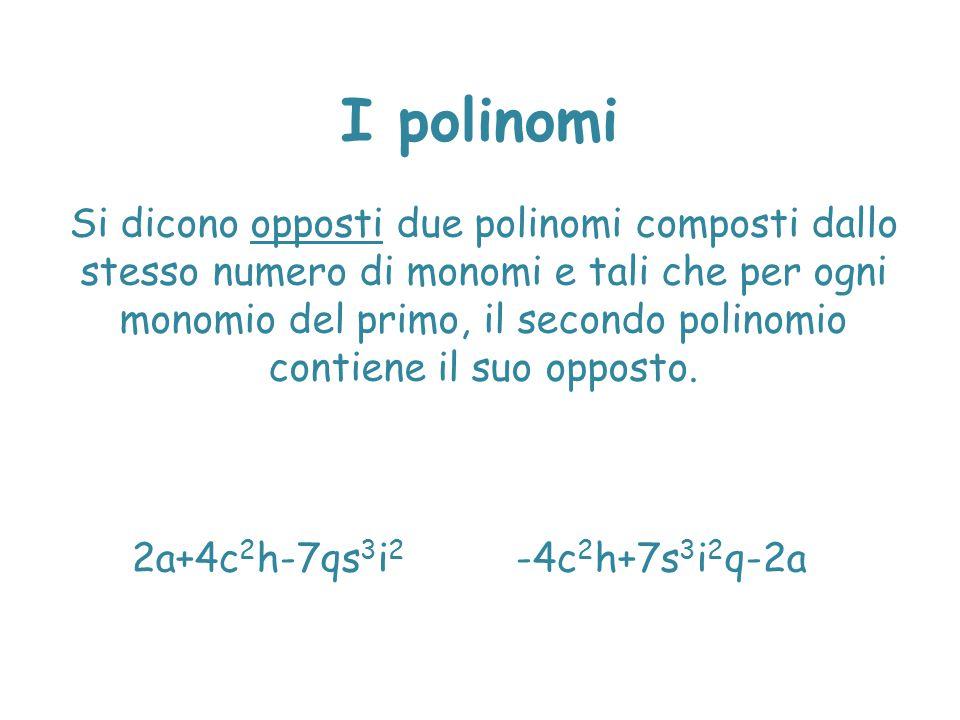 I polinomi Si dicono opposti due polinomi composti dallo stesso numero di monomi e tali che per ogni monomio del primo, il secondo polinomio contiene