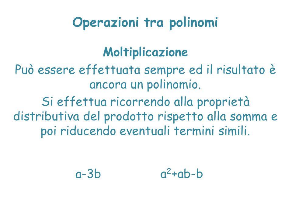 Operazioni tra polinomi Moltiplicazione Può essere effettuata sempre ed il risultato è ancora un polinomio. Si effettua ricorrendo alla proprietà dist