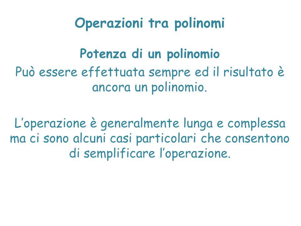 Operazioni tra polinomi Potenza di un polinomio Può essere effettuata sempre ed il risultato è ancora un polinomio. L'operazione è generalmente lunga