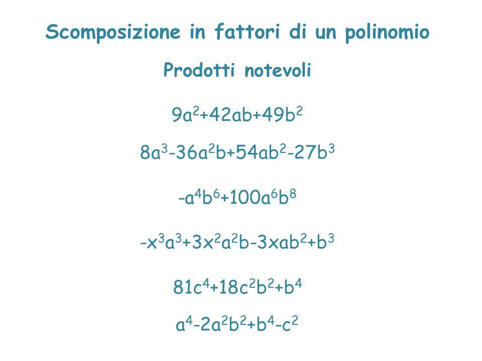 Scomposizione in fattori di un polinomio Prodotti notevoli 9a 2 +42ab+49b 2 8a 3 -36a 2 b+54ab 2 -27b 3 -a 4 b 6 +100a 6 b 8 -x 3 a 3 +3x 2 a 2 b-3xab