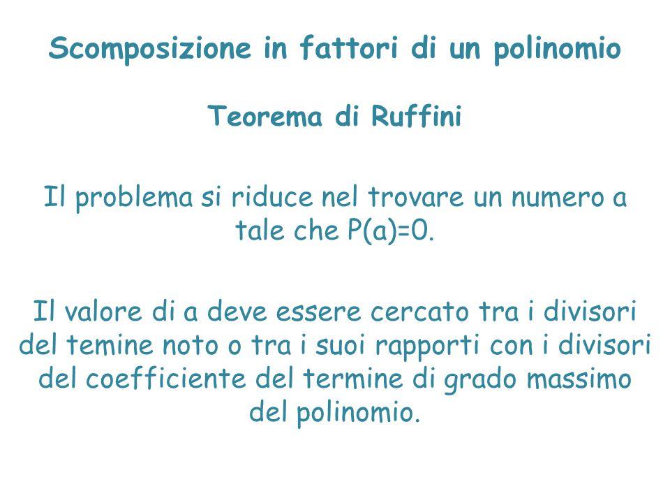 Scomposizione in fattori di un polinomio Teorema di Ruffini Il problema si riduce nel trovare un numero a tale che P(a)=0. Il valore di a deve essere