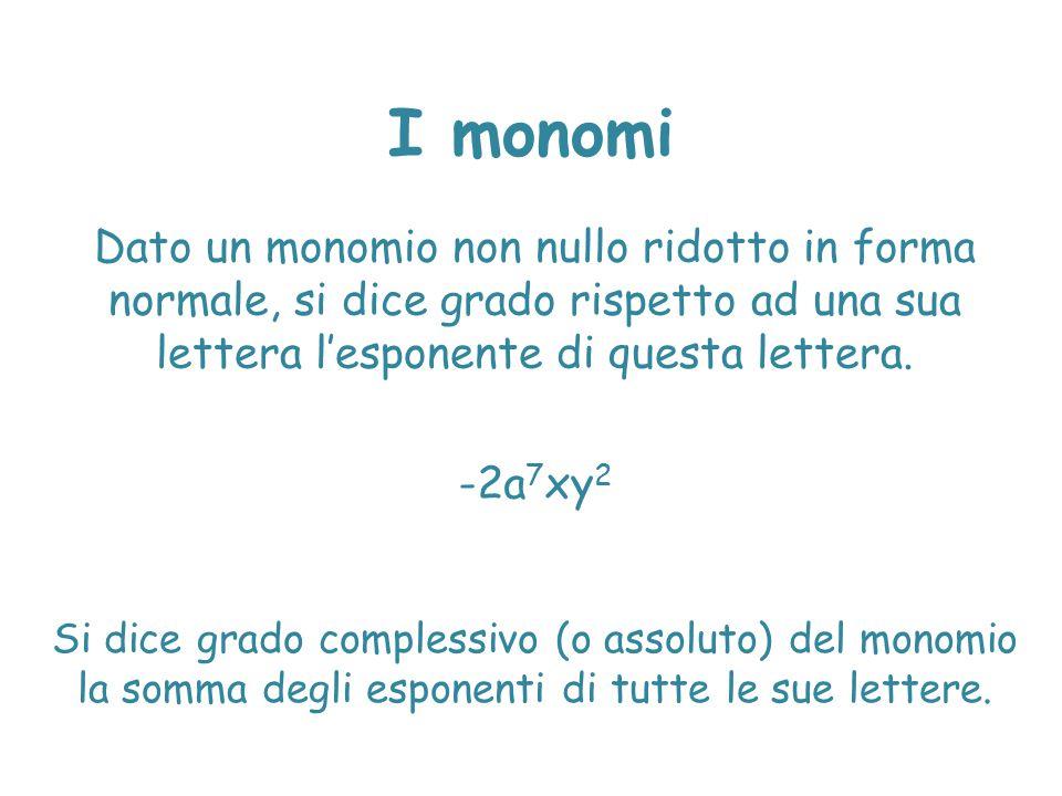 I monomi Dato un monomio non nullo ridotto in forma normale, si dice grado rispetto ad una sua lettera l'esponente di questa lettera. -2a 7 xy 2 Si di