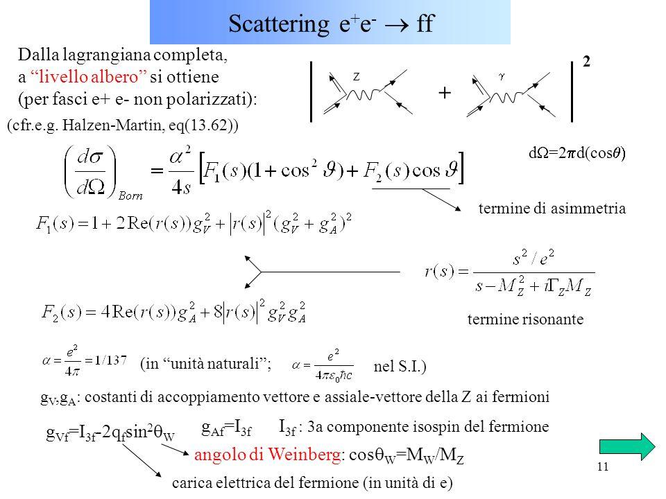 11 Scattering e + e -  ff Dalla lagrangiana completa, a livello albero si ottiene (per fasci e+ e- non polarizzati): Z termine di asimmetria termine risonante (in unità naturali ; nel S.I.) d  =2  d(cos  g V,g A : costanti di accoppiamento vettore e assiale-vettore della Z ai fermioni g Vf =I 3f -2q f sin 2  W g Af =I 3f I 3f : 3a componente isospin del fermione angolo di Weinberg: cos  W =M W /M Z carica elettrica del fermione (in unità di e) (cfr.e.g.