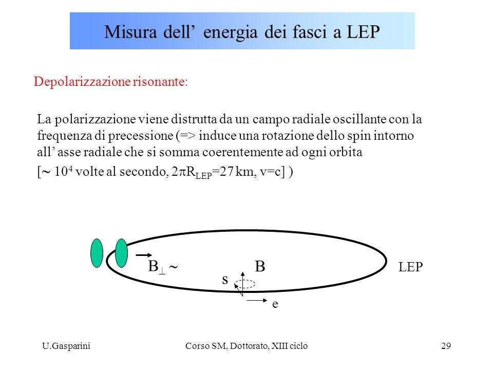 U.GaspariniCorso SM, Dottorato, XIII ciclo29 Misura dell' energia dei fasci a LEP Depolarizzazione risonante: La polarizzazione viene distrutta da un campo radiale oscillante con la frequenza di precessione (=> induce una rotazione dello spin intorno all' asse radiale che si somma coerentemente ad ogni orbita [  10 4 volte al secondo, 2  R LEP =27 km, v=c] ) B B  B e s LEP
