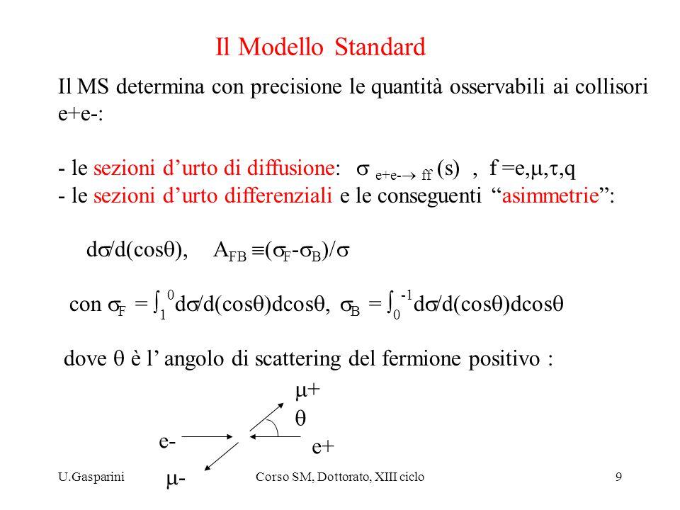 U.GaspariniCorso SM, Dottorato, XIII ciclo9 Il Modello Standard Il MS determina con precisione le quantità osservabili ai collisori e+e-: - le sezioni d'urto di diffusione:  e+e-  ff (s), f =e, ,q - le sezioni d'urto differenziali e le conseguenti asimmetrie : d  /d(cos  ), A FB  (  F -  B )/  con  F =  1 0 d  /d(cos  )dcos ,  B =  0 -1 d  /d(cos  )dcos  dove  è l' angolo di scattering del fermione positivo : e- e+ ++ -- 