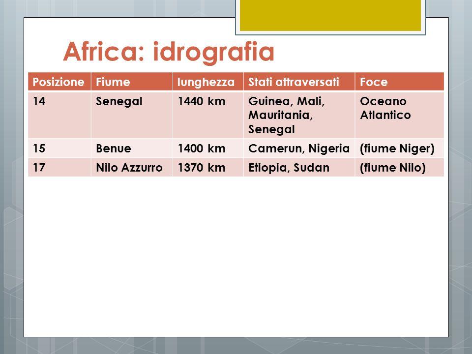 Africa: idrografia PosizioneFiumelunghezzaStati attraversatiFoce 14Senegal1440 kmGuinea, Mali, Mauritania, Senegal Oceano Atlantico 15Benue1400 kmCame