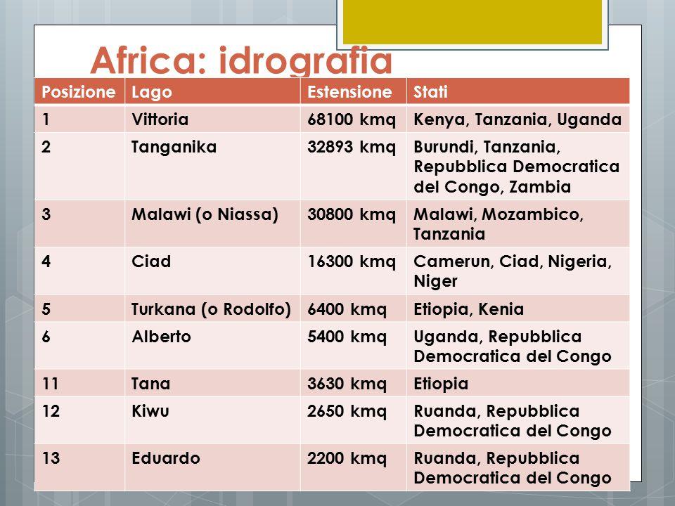Africa: idrografia PosizioneLagoEstensioneStati 1Vittoria68100 kmqKenya, Tanzania, Uganda 2Tanganika32893 kmqBurundi, Tanzania, Repubblica Democratica