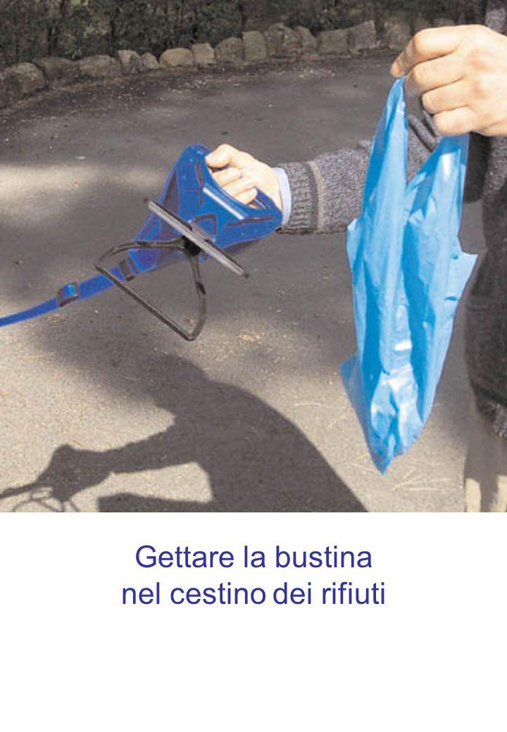 Gettare la bustina nel cestino dei rifiuti