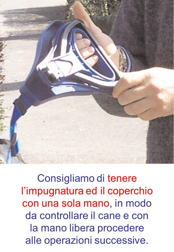 Consigliamo di tenere l'impugnatura ed il coperchio con una sola mano, in modo da controllare il cane e con la mano libera procedere alle operazioni successive.