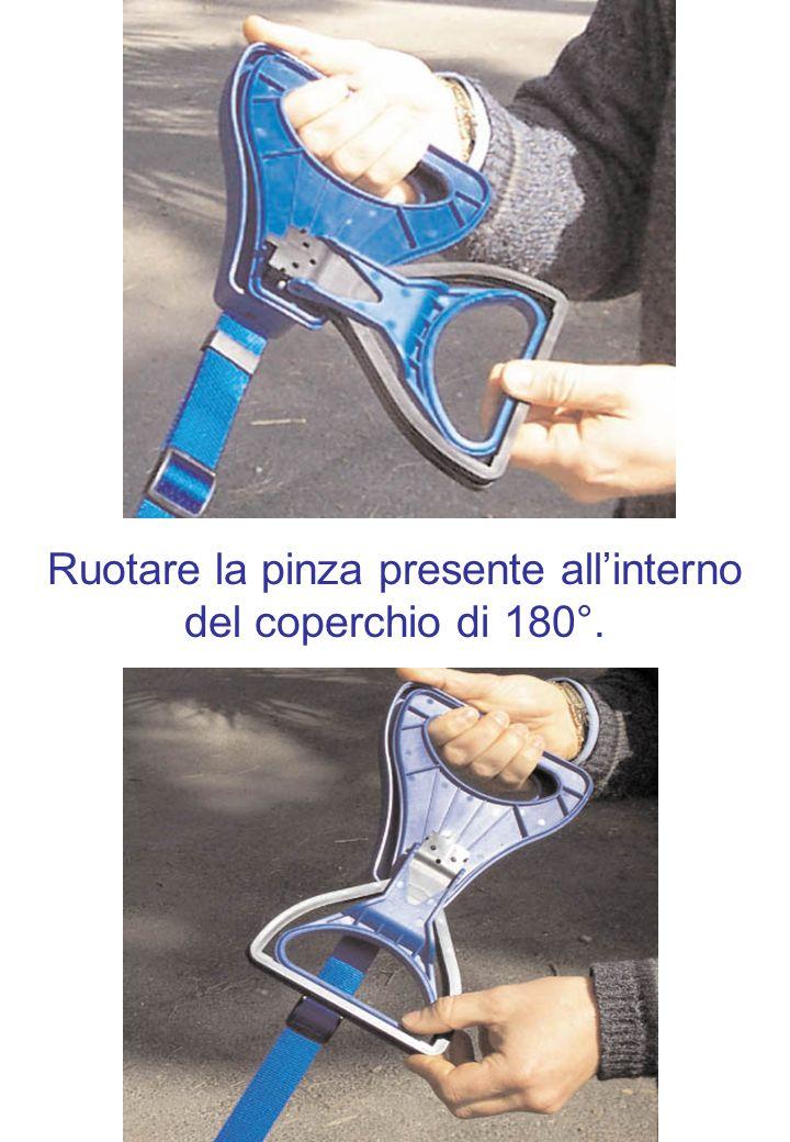 Ruotare la pinza presente all'interno del coperchio di 180°.