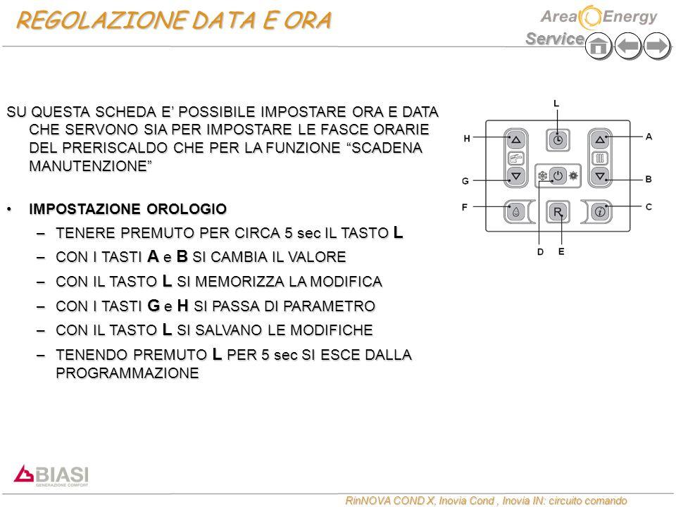 Service RinNOVA COND X, Inovia Cond, Inovia IN: circuito comando REGOLAZIONE DATA E ORA SU QUESTA SCHEDA E' POSSIBILE IMPOSTARE ORA E DATA CHE SERVONO