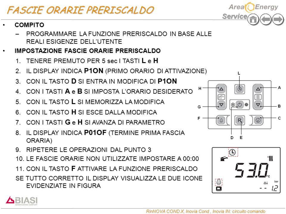 Service RinNOVA COND X, Inovia Cond, Inovia IN: circuito comando FASCIE ORARIE PRERISCALDO COMPITOCOMPITO –PROGRAMMARE LA FUNZIONE PRERISCALDO IN BASE ALLE REALI ESIGENZE DELL'UTENTE IMPOSTAZIONE FASCIE ORARIE PRERISCALDOIMPOSTAZIONE FASCIE ORARIE PRERISCALDO 1.TENERE PREMUTO PER 5 sec I TASTI L e H 2.IL DISPLAY INDICA P1ON (PRIMO ORARIO DI ATTIVAZIONE) 3.CON IL TASTO D SI ENTRA IN MODIFICA DI P1ON 4.CON I TASTI A e B SI IMPOSTA L'ORARIO DESIDERATO 5.CON IL TASTO L SI MEMORIZZA LA MODIFICA 6.CON IL TASTO H SI ESCE DALLA MODIFICA 7.CON I TASTI G e H SI AVANZA DI PARAMETRO 8.IL DISPLAY INDICA P01OF (TERMINE PRIMA FASCIA ORARIA) 9.RIPETERE LE OPERAZIONI DAL PUNTO 3 10.LE FASCIE ORARIE NON UTILIZZATE IMPOSTARE A 00:00 11.CON IL TASTO F ATTIVARE LA FUNZIONE PRERISCALDO SE TUTTO CORRETTO IL DISPLAY VISUALIZZA LE DUE ICONE EVIDENZIATE IN FIGURA