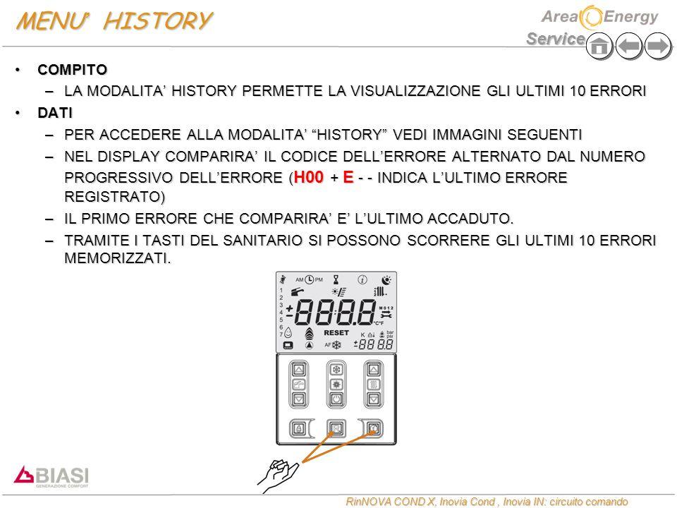 Service RinNOVA COND X, Inovia Cond, Inovia IN: circuito comando MENU ' HISTORY COMPITOCOMPITO –LA MODALITA' HISTORY PERMETTE LA VISUALIZZAZIONE GLI U