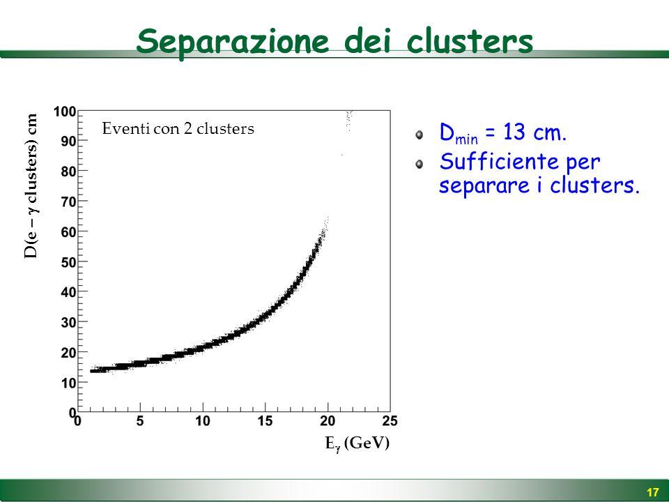 17 Separazione dei clusters E  (GeV) D(e –  clusters) cm Eventi con 2 clusters D min = 13 cm.