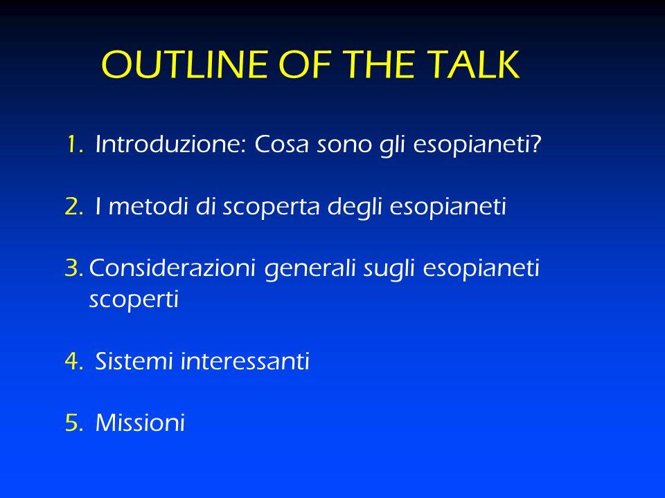 OUTLINE OF THE TALK 1. Introduzione: Cosa sono gli esopianeti? 2. I metodi di scoperta degli esopianeti 3.Considerazioni generali sugli esopianeti sco