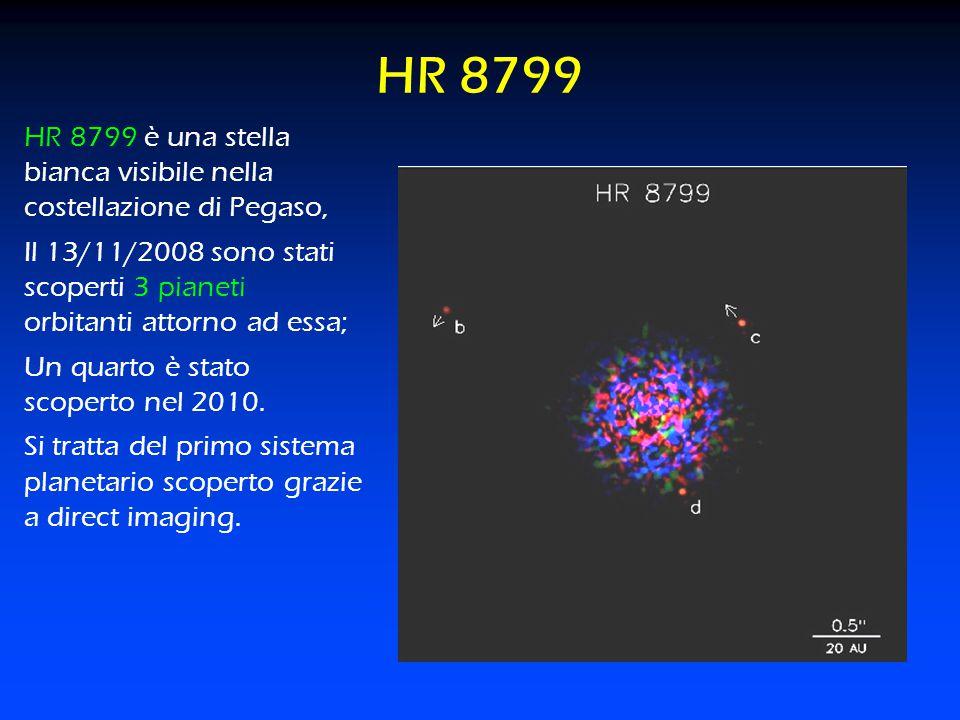 HR 8799 HR 8799 è una stella bianca visibile nella costellazione di Pegaso, Il 13/11/2008 sono stati scoperti 3 pianeti orbitanti attorno ad essa; Un