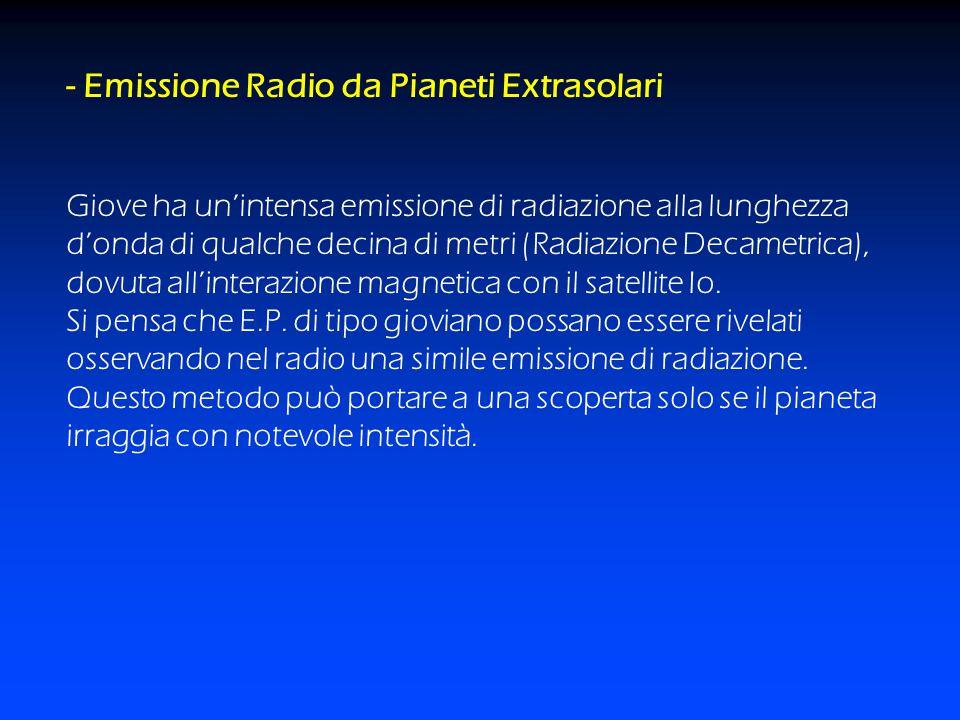 - Emissione Radio da Pianeti Extrasolari Giove ha un'intensa emissione di radiazione alla lunghezza d'onda di qualche decina di metri (Radiazione Deca
