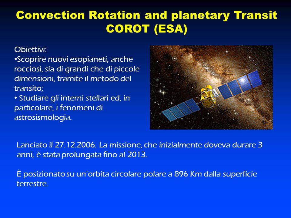 Convection Rotation and planetary Transit COROT (ESA) Obiettivi: Scoprire nuovi esopianeti, anche rocciosi, sia di grandi che di piccole dimensioni, t
