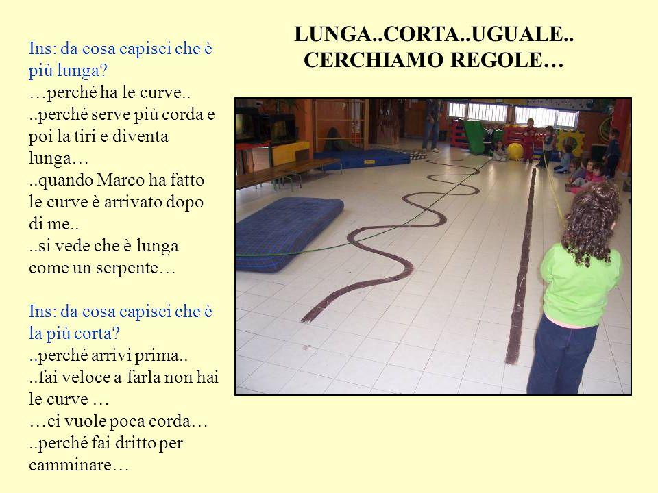 Ins: da cosa capisci che è più lunga? …perché ha le curve....perché serve più corda e poi la tiri e diventa lunga…..quando Marco ha fatto le curve è a