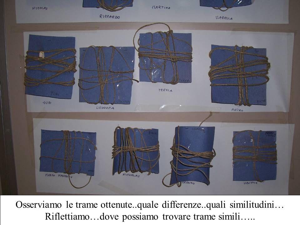 Osserviamo le trame ottenute..quale differenze..quali similitudini… Riflettiamo…dove possiamo trovare trame simili…..