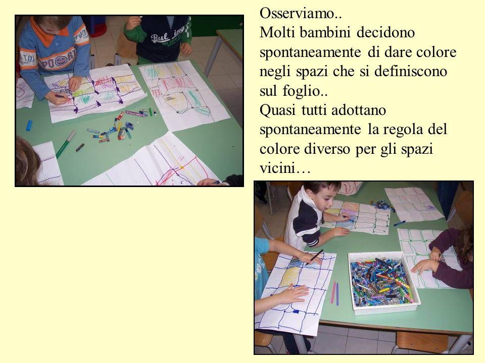 Osserviamo.. Molti bambini decidono spontaneamente di dare colore negli spazi che si definiscono sul foglio.. Quasi tutti adottano spontaneamente la r