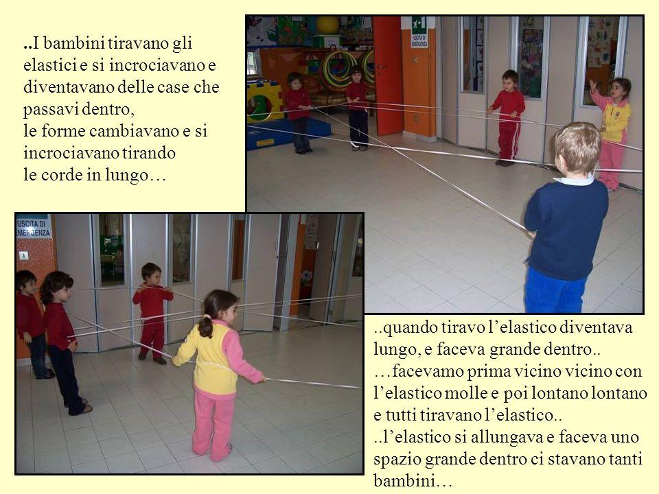 ..I bambini tiravano gli elastici e si incrociavano e diventavano delle case che passavi dentro, le forme cambiavano e si incrociavano tirando le cord