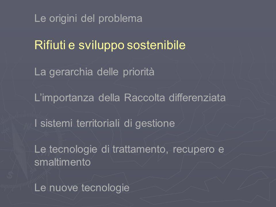 Le origini del problema Rifiuti e sviluppo sostenibile La gerarchia delle priorità L'importanza della Raccolta differenziata I sistemi territoriali di