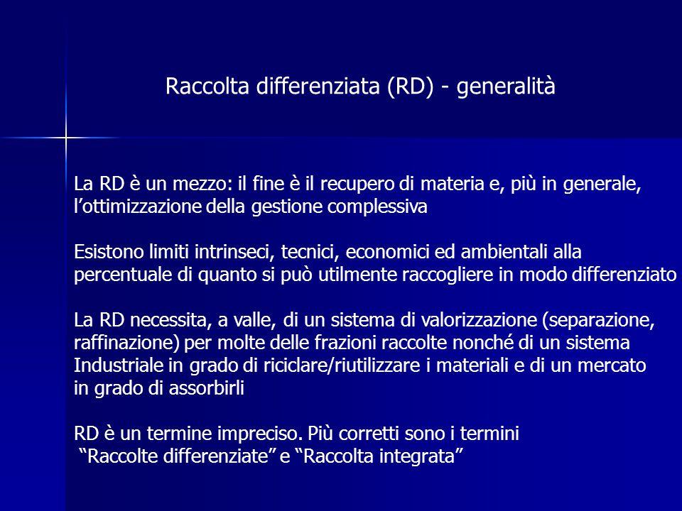 Raccolta differenziata (RD) - generalità La RD è un mezzo: il fine è il recupero di materia e, più in generale, l'ottimizzazione della gestione comple