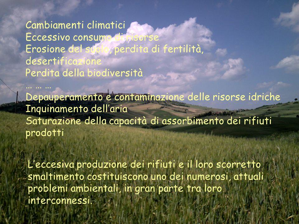 Cambiamenti climatici Eccessivo consumo di risorse Erosione del suolo, perdita di fertilità, desertificazione Perdita della biodiversità … … … Depaupe