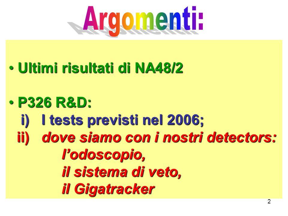 2 Ultimi risultati di NA48/2 Ultimi risultati di NA48/2 P326 R&D: P326 R&D: i) I tests previsti nel 2006; i) I tests previsti nel 2006; ii) dove siamo