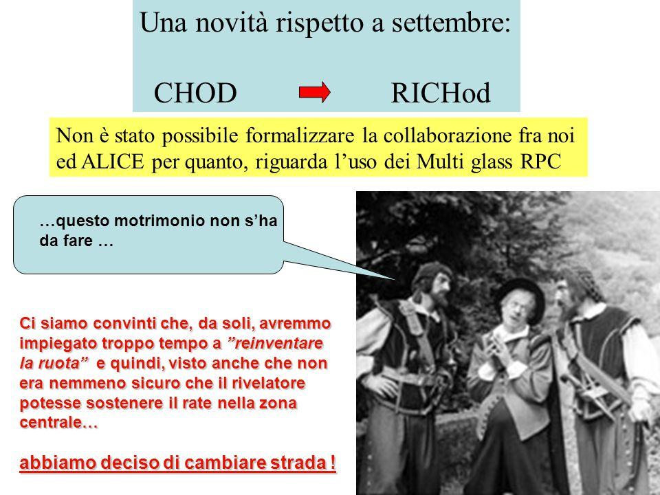 34 Una novità rispetto a settembre: CHOD RICHod Non è stato possibile formalizzare la collaborazione fra noi ed ALICE per quanto, riguarda l'uso dei M