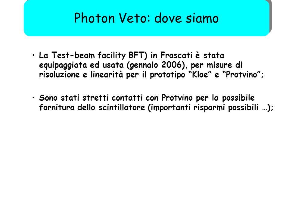 """54 La Test-beam facility BFT) in Frascati è stata equipaggiata ed usata (gennaio 2006), per misure di risoluzione e linearità per il prototipo """"Kloe"""""""
