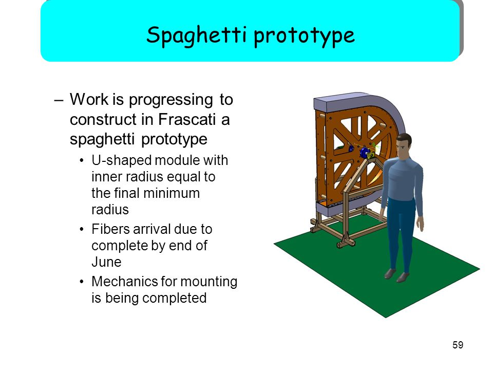 59 –Work is progressing to construct in Frascati a spaghetti prototype U-shaped module with inner radius equal to the final minimum radius Fibers arrival due to complete by end of June Mechanics for mounting is being completed Spaghetti prototype