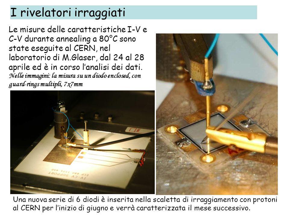 I rivelatori irraggiati Le misure delle caratteristiche I-V e C-V durante annealing a 80°C sono state eseguite al CERN, nel laboratorio di M.Glaser, d